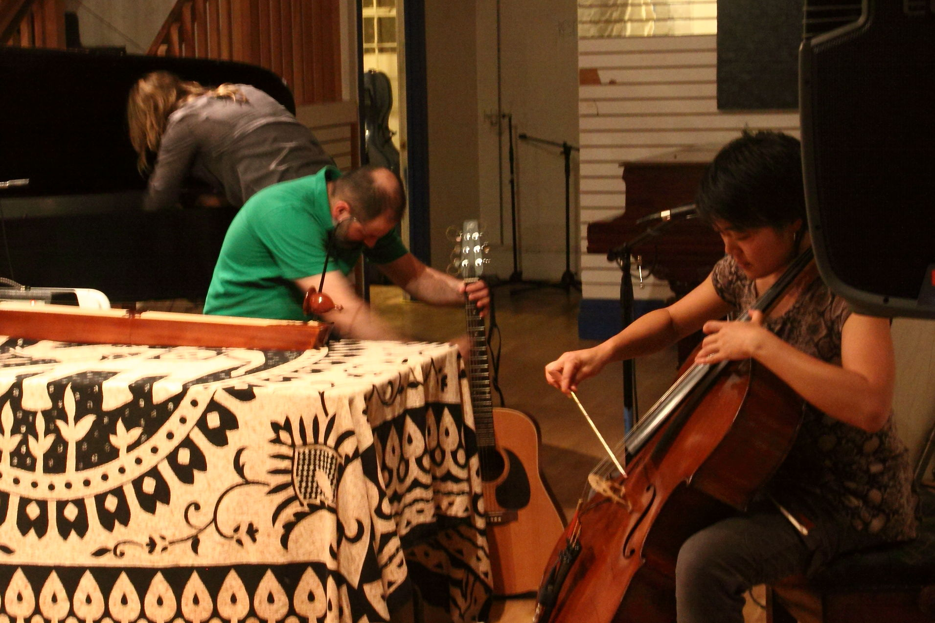 Annie Lewandoski, Luciano Chessa and Theresa Wong in a trio improvisation
