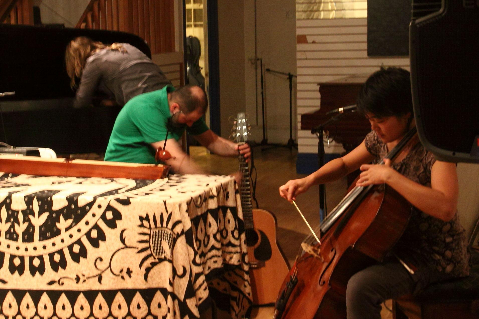 Annie Lewandoski, Luciano Chessa and Theresa Wong in a trio improvisation