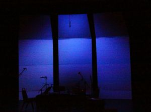 The stage at Kanbar Hall stands ready to receive performers on opening night of OM 18