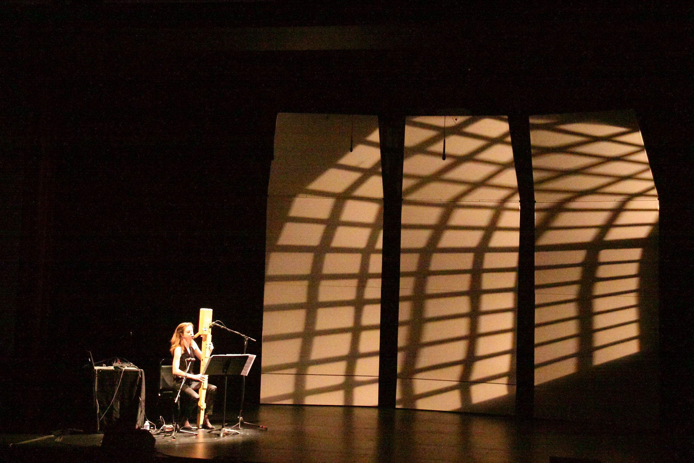 Anna Petrini performing on the stage of Kanbar Hall at the Other Minds festival.