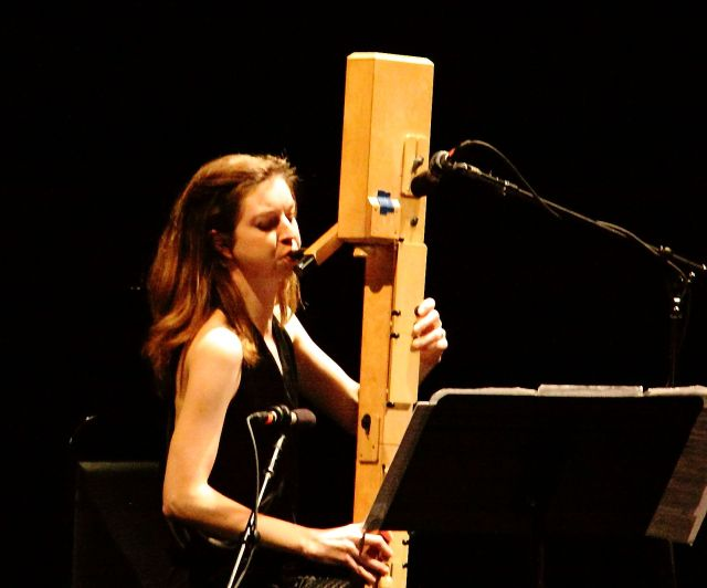 Anna Petrini performing with her Paetzold contrabass recorder.