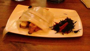 Appetizer- Fresh rice noodles wrapped with apple smoked tofu and miso glazed, grilled pumpkin hijiki salad
