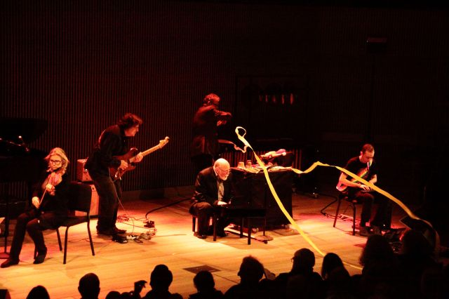Ribbons strewn across the stage, a part of the Other Minds Ensemble's interpretation of the Metaphysics of Notation