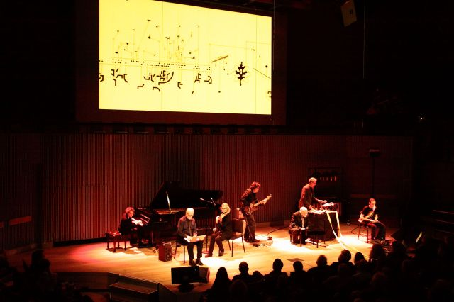 Applebaum's Metaphysics of Notation (2008) performed by the Other Minds Ensemble.  Left to right: Myra Melford, John Bischoff, Wendy Reid, John Schott, Joseph Byrd, Charles Amirkhanian and Charles Celeste Hutchins