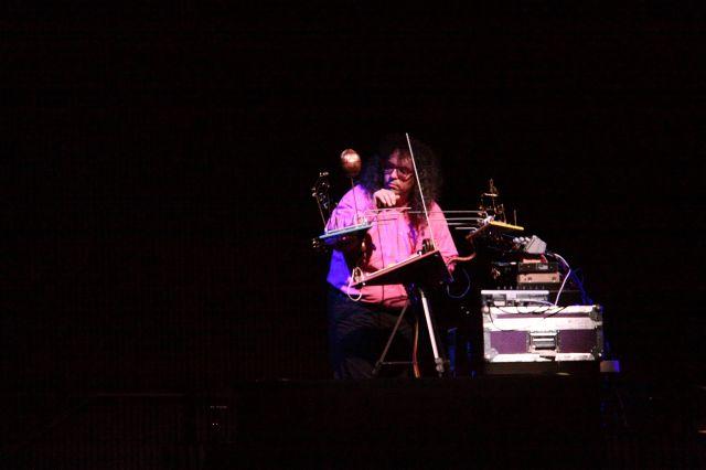 Mark Applebaum performing on his invented instrument.