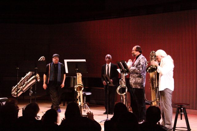 Roscoe Mitchell, Vinny Golia, Scott Robinson and J.D. Parran  following their performance of Noonah (2013)