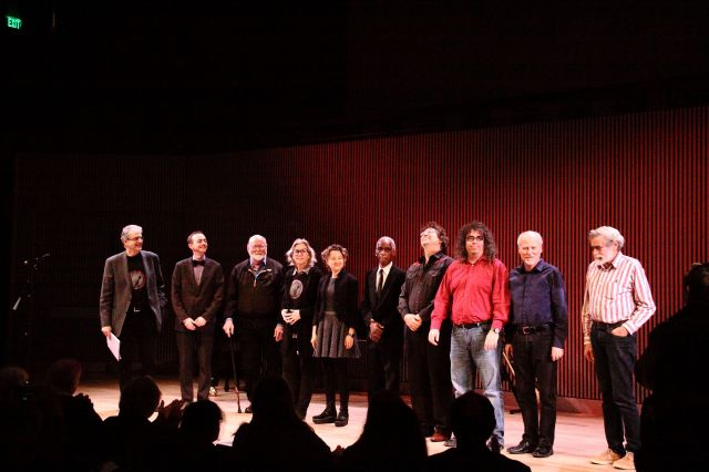 OM 19, the final bow.  Left to right: Charles Amirkhanian, Charles Celeste Hutchins, Joseph Byrd, Wendy Reid, Myra Melford, Roscoe Mitchell, John Schott, Mark Applebaum, John Bischoff, Don Buchla