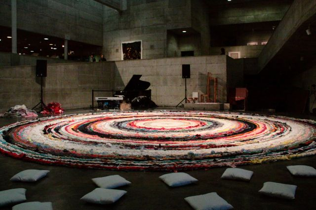 Staging set up for the Alvin Curran solo performance at the Berkeley Arts Museum