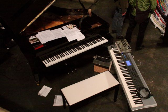 Overhead view of the keyboard set  up for the April 11th performance.