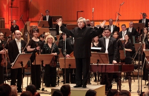 Maestro Gheorghes Mustea with his Orchestra of Teleradio Moldova Corporation.