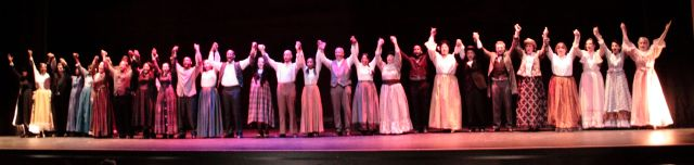 The cast taking their first bow to the appreciative audience.