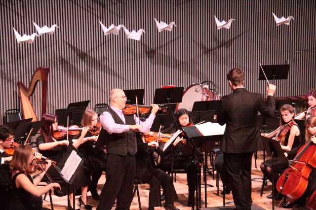 Movses Pogossian with the SOTA orchestra conducted by Bradley Hogarth.