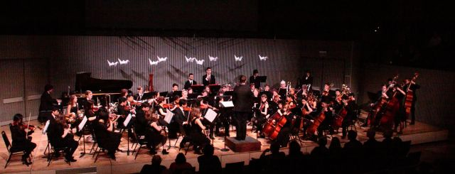 Ruth Asawa San Francisco School of the Arts Orchestra just fitting on the stage at SF Jazz