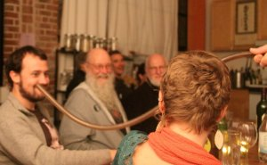 Gyan Riley, Terry Riley and Loren Rush attending the dinner/concert which featured Stuart Dempster.
