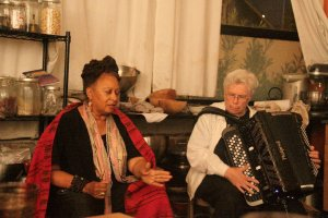 Pauline Oliveros and her partner Ione performing at a recent dinner.