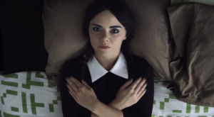 Melissa Hunter in character as Adult Wednesday Addams