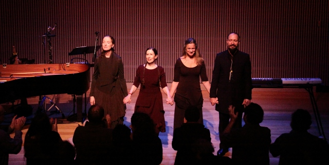 Left to right Allison Sniffin, Meredith Monk, Katie Geissinger and Bodhan Hilash receiving a standing ovation.